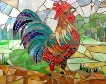 Crowing Cockerel Card - Mosaic Art - Rooster Card - Mosaic Cockerel - Stained Glass Bird - Chicken Card - Birthday Card - Rustic Bird Card -