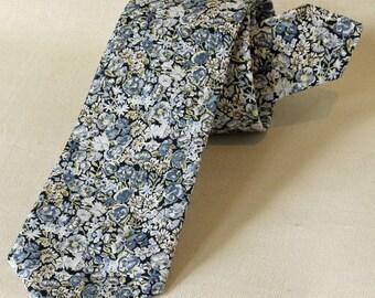 Mens tie - Liberty print tie Chive blue - floral tie - blue tie