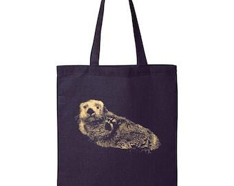 Otter Tote Bag, 10% Donated to Animal Causes, Reusable Grocery Bag, Shopping Bag, Otter Gift