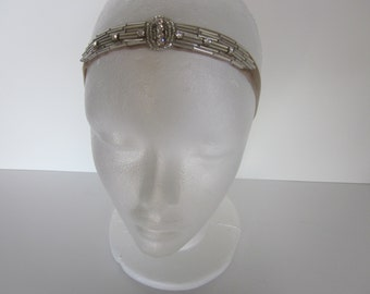 Silver Art Deco fascinator, silver Great Gatsby headband, Gold 1920s Rhinestone headpiece, flapper dress headband, wedding bridal beaded