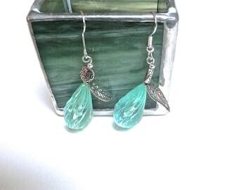 Seafoam Earrings, Seafoam Teardrop Earrings, Aqua Dangle Earrings, Aqua Drop Earrings, Acrylic Earrings, Recycled Bead Earrings