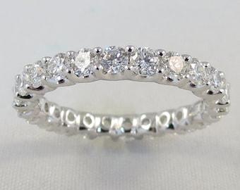 Premium Diamond Eternity Band Wedding Ring 14k White Gold 1.70CT G VS Size 6.75