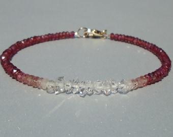 Herkimer Diamond Bracelet, Garnet Bracelet, Pink Tourmaline Bracelet, Ombre Bracelet, Dainty Bracelet, Red Bracelet, Gemstone Bracelet
