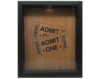 """Wooden Shadow Box Ticket Holder 9""""x11"""" - Admit One Tickets"""