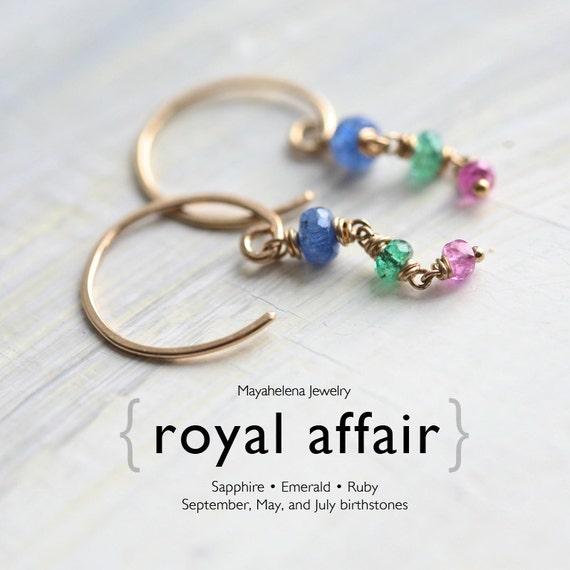 Royal Affair - Genuine Sapphire, Emerald, Ruby Gold Filled Earrings