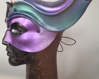 Winged Nature Spirit/ Mercury/ Valkyrie/ Fairy  Molded Leather Mask in iridescent Purple, Turquoise, with Abalone Shell Beads