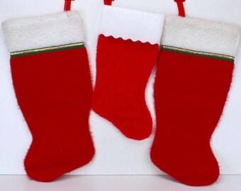 xmas stocking lot family xmas stocking 3 fleece stockings red white stockings - Xmas Stockings