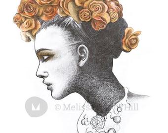 Amelia: A3 Giclee Art Print of original pencil drawing