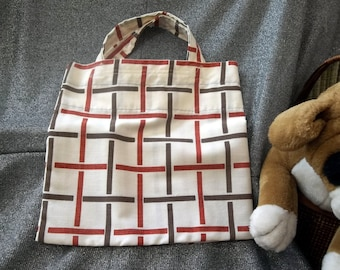 Book Lunch N Small Gift Tote Bag, Red N Brown Checks Print