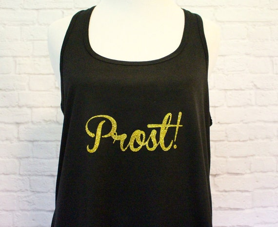 Cheers in Different Languages perfect for Bride or Wedding PartyFlowy Racerback Tank Women's Black printed in Gold Glitter
