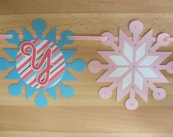 Snowflake Winter Wonderland Happy Birthday Banner Sign Onederland Party Shower Pink Brown Grey Turquoise Blue Aqua