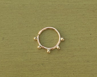 Echo Septum Ring - Solid 9ct Yellow Gold - Piercing Septum Daith Helix Rook Nostril