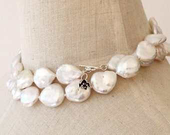 White baroque pearl necklace, Large pearl necklace Double strand pearl necklace Coin pearl necklace Keshi pearl bridal necklace High quality
