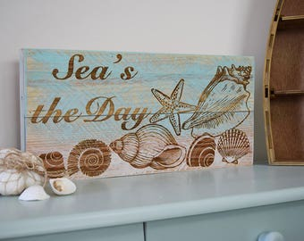 Engraved Pallet Wood Sign- Sea's the Day | Gift | Housewarming | Home Decor | Wall Hanging | Beach | Coastal | Nautical | Seashells