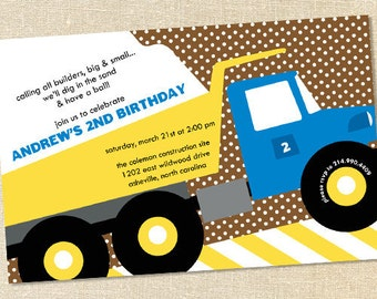 Sweet Wishes Little Blue Dump Truck Invitations - PRINTED - Digital File Also Available