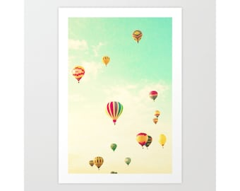 Nursery wall art, hot air ballon nursery decor, nursery wall decor, nursery prints, playroom decor, canvas art, extra large wall art