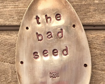 The Bad Seed hand stamped SPOON recycled Garden Marker with small skull and cross bones