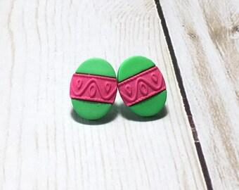Easter Egg Earrings, Easter Earrings, Post Earrings, Gift, Gift for her, Easter, under 5 dollars, Kawaii Earrings, Green, Pink, Easter Egg