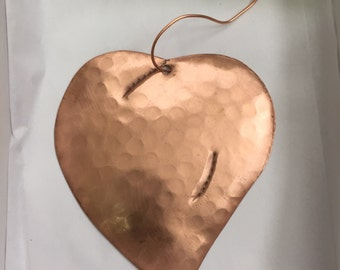 Handcrafted Pure Hammered Copper Heart Ornament