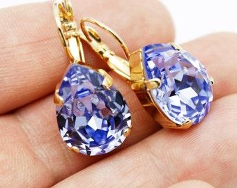 Shapphire Blue Crystal Earrings Gold, Pear Drop Earrings, Blue Modern Jewelry, Swarovski Crystal, Bridal Bridesmaids Wedding Jewelry