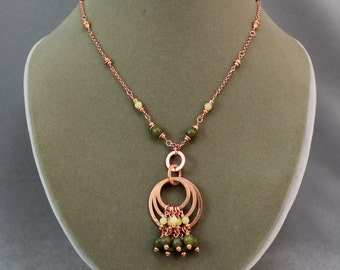 New Jade and Copper Hoops Necklace