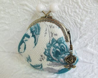 25B - Coin purse - Fabric with Metal Frame, handmade, wallet