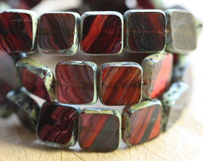 LICORICE .. 15 Premium Picasso Czech Glass Square Beads 9mm (B1016-15)