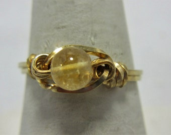Citrine Ring, 14K Gold Filled Wire Wrap Ring, Birthstone Ring, Any Size, November Birthstone, Native American Made #30