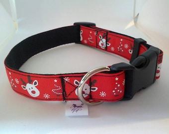 Red rudolph the reindeer adjustable webbing dog collars