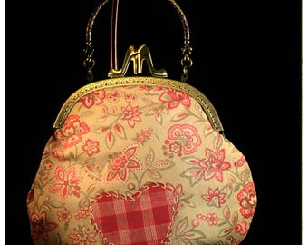 Large Kiss-Lock Purse Handbag with Hand-Applique - Vintage, Victoriana, Bridal #3177