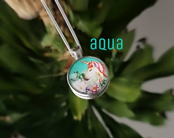 Unicorn - chain in stainless steel, pendant, necklace, glass cabochon, aqua, blue, floral, cream, black