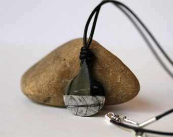 Mens, Unisex, His and Hers Black and Grey Agate Gemstone Leather Corded Necklace Set of 2