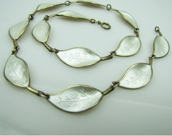 Vintage David Anderson Willy Winnaess Norway Sterling Silver Pearlized White Enamel Leaf Necklace. Gold Vermeil. Naturalistic Design c1950