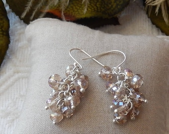 One of a Kind Sterling Silver Crystal Cluster Drop Dangle Earrings