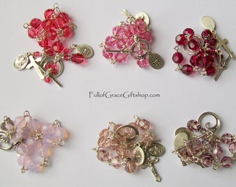 Pink Swarovski Crystal Rosary Bracelet Sterling Silver Bliss Medals, St. Therese of Lisieux,  Unbreakable, Miraculous Medall