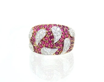 18K Ruby & Diamond Encrusted Ring - X4492  *with appraisal*