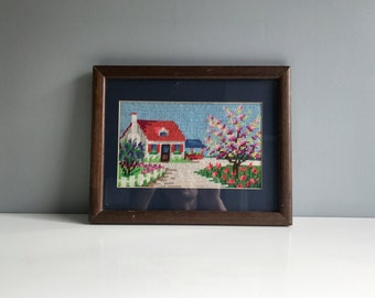 Vintage Needlepoint Wall Hanging - Cottage