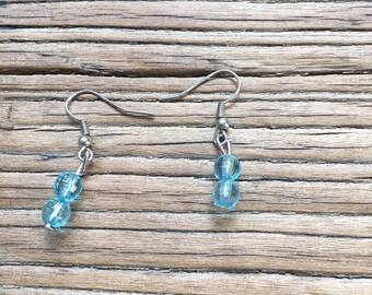 90s Clear Light Blue Bead Dangle Earrings, 90s Jewelry, Crystal Earrings, Earrings for Women, Costume Jewelry