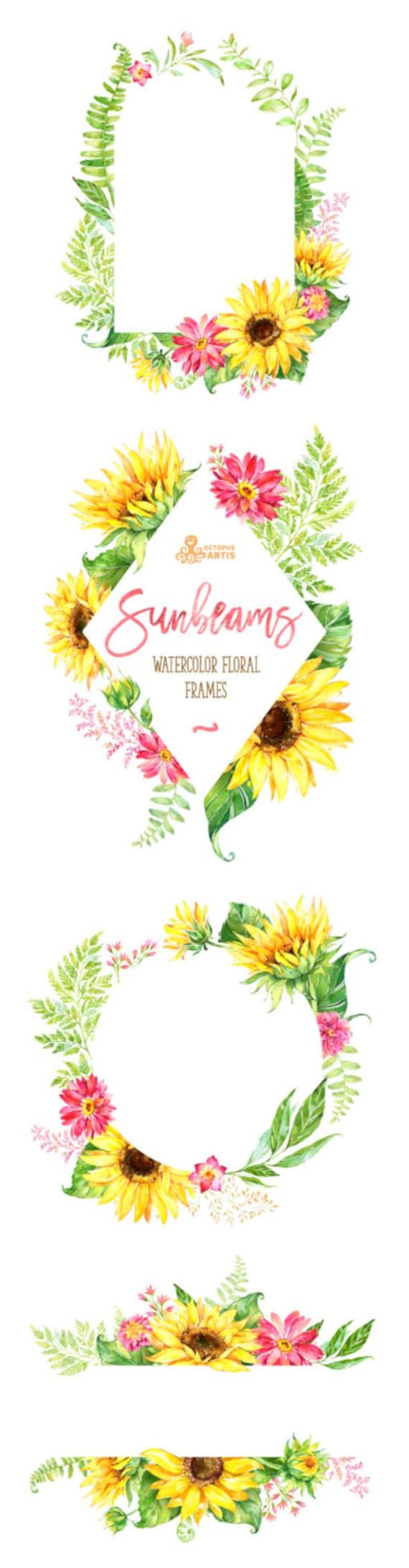 Sonnenstrahlen Rahmen. Aquarell Blumen Clipart Vorlage