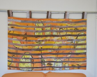 wall hanging yellow linen headboard in warm colours Brown babies room africa