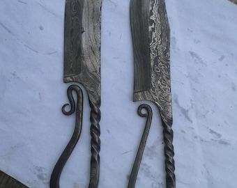Custom Hand made viking style hunting knives set of 2