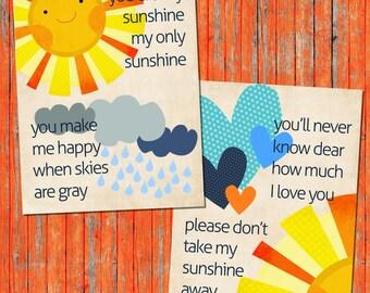 INSTANT DOWNLOAD You are My Sunshine  PDF Printable File Digital Art Print Printable Wall Art Kids Wall Art Printable Art