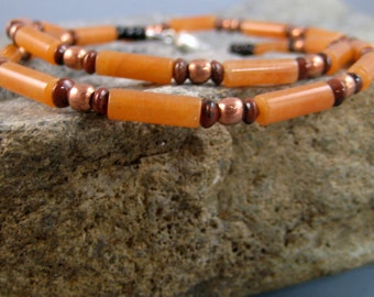 Brown beaded necklace, mans necklace, aventurine gemstone necklace, menswear jewelry, surfer necklace, guys adornment, southwest design