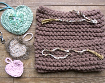 Gift bag for Valentine's day or other occasion, knitted and crocheted by hand.