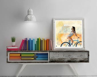 Volkswagen van Print, illustration bike I van, van Decoration, wall art, instant download