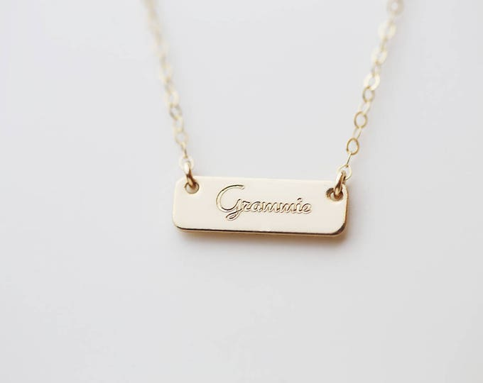 Personalized Mini name necklace for initials, name, date • Gold, Silver custom Name Bar • Monogram & Name Bar necklace holiday gift for her