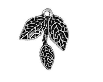 SET of 3 charms branch 3 Silver leaves (A37)