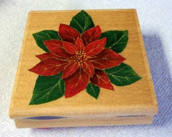 "Used Poinsettia Wood Mounted Rubber Stamp 3""x3"", Scrapbooking, Card Making, Holiday Design, Takuniquedesigns"