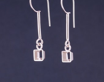 suspended cube earrings
