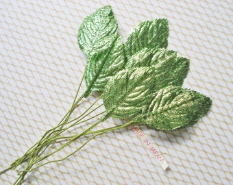 Vintage Bright Green Millinery Silk Leaves - 18 Small Green Craft Leaves - Japanese Green Silk Glitter Leaves - Silk Millinery Trim